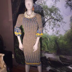 African popcorn stitch dress